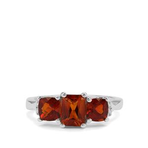 Madeira Citrine & White Zircon Sterling Silver Ring ATGW 1.92cts
