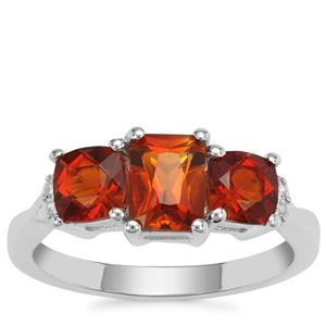 Madeira Citrine Ring with White Zircon in Sterling Silver 1.92cts