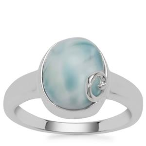 Larimar Ring in Sterling Silver 4.14cts
