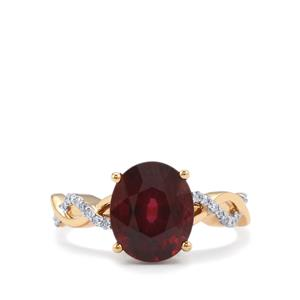 Malawi Garnet Ring with Diamond in 18K Gold 4.05cts