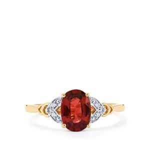 Malawi Garnet Ring with White Diamond in 10k Gold 1.69cts