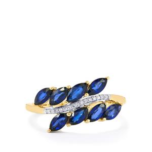 Sri Lankan Sapphire Ring with Diamond in 10k Gold 1.42cts