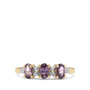 Mahenge Blue Spinel Ring with Diamond in 10K Gold 0.79ct