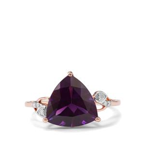 Moroccan Amethyst & Diamond 9K Rose Gold Ring ATGW 3.72cts