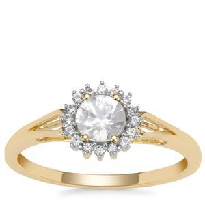 Singida Tanzanian Zircon Ring with White Zircon in 9K Gold 0.81ct