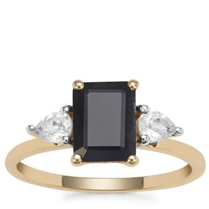 Ethiopian Sapphire Ring with White Zircon in 9K Gold 2.41cts