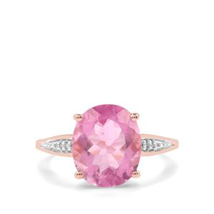 Natural Pink Fluorite Ring with Diamond in 9K Rose Gold 5.75cts
