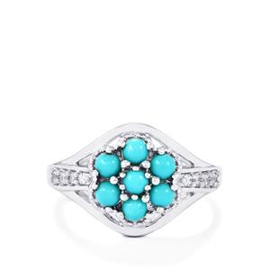 Sleeping Beauty Turquoise & White Zircon Sterling Silver Ring ATGW 0.83cts