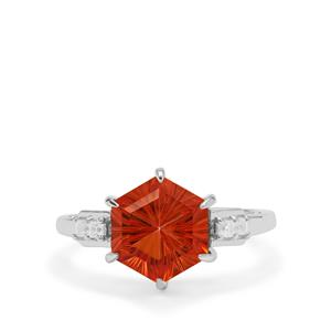 Senary Cut Padparadscha Quartz Ring with White Zircon in Sterling Silver 3.15cts