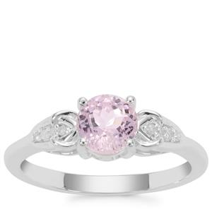 Natural Brazilian Kunzite Ring with Diamond in Sterling Silver 1.21cts