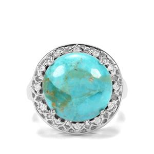Cochise Turquoise & White Zircon Sterling Silver Ring ATGW 8.63cts