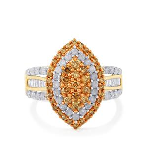 Champagne Diamond Ring with White Diamond in 9K Gold 1.45cts