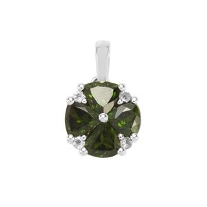 Chrome Diopside & White Topaz Sterling Silver Pendant ATGW 1.93cts