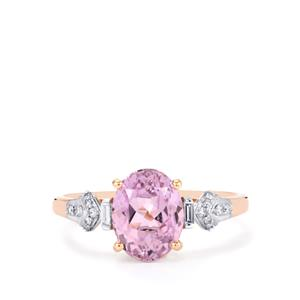 Mawi Kunzite Ring with Diamond in 18k Rose Gold 2.97cts