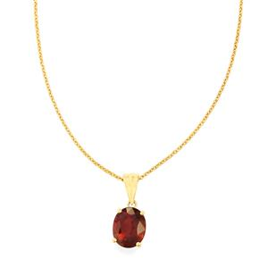Malawi Garnet Pendant Necklace in 14K Gold 3.52cts