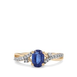 Daha Kyanite Ring with White Zircon in 10k Gold 1.13cts