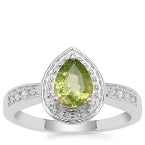 Red Dragon Peridot Ring with White Zircon in Sterling Silver 1.34cts