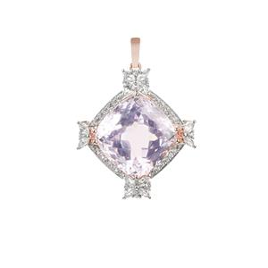 Kunzite Pendant with White Zircon in Sterling Silver 30.31cts