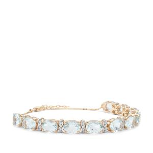 Madagascan Aquamarine Bracelet with White Zircon in 9K Gold 12.31cts