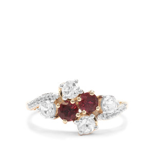 Safira Tourmaline Ring with White Zircon in 9K Gold 1.88cts