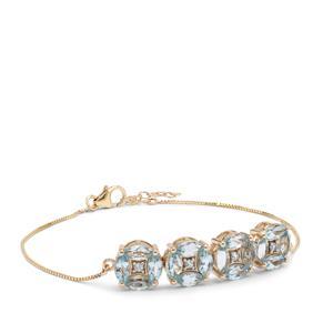 Santa Maria Aquamarine Bracelet with White Zircon in 9K Gold 3.40cts