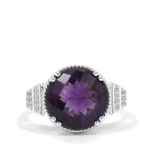 Zambian Amethyst Ring with White Zircon in Sterling Silver 5.75cts