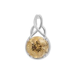 Polka Cut Champagne Quartz Pendant in Sterling Silver 3.70cts
