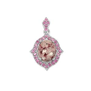 Bixbite Pendant with Sakaraha Pink Sapphire in Sterling Silver 3.21cts