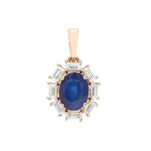 Santorinite™ Blue Spinel Pendant with White Zircon in 9K Gold 2cts