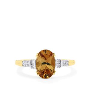 Axinite Ring with Diamond in 18k Gold 1.84cts