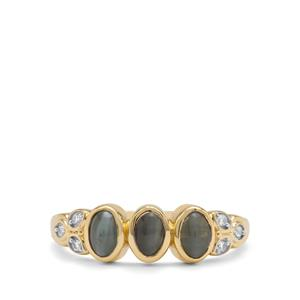 Cats Eye Alexandrite Ring with White Zircon in 9K Gold 1.52cts