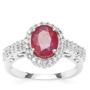 Thai Ruby Ring with White Zircon in Sterling Silver 3.32cts (F)