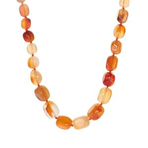 Carnelian Graduated Necklace  in Sterling Silver 423.20cts