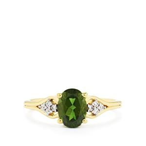 Chrome Diopside Ring with White Zircon in 10K Gold 1.50cts