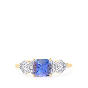 AA Tanzanite Ring with White Sapphire in 10k Gold 1.35cts