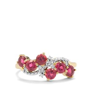 Cruzeiro Rubellite Ring with Diamond in 10K Gold 1.06cts