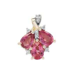 Padparadscha Sapphire Pendant with Diamond in 9K Gold 0.98cts
