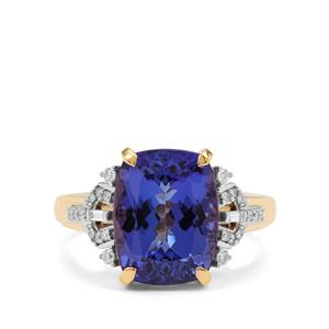 AAA Tanzanite Ring with Diamond in 18K Gold 5.70cts