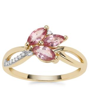 Padparadscha Sapphire Ring with Diamond in 9K Gold 1cts
