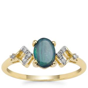 Boulder Opal Ring with Diamond in 9K Gold