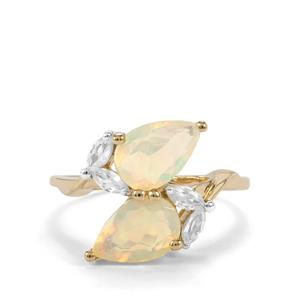 Ethiopian Opal Ring with White Zircon in 9K Gold 2.12cts