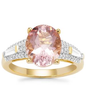 Cherry Blossom™ Morganite Ring with Diamond in 18K Gold 3.45cts