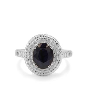 Madagascan Blue Sapphire Ring with White Zircon in Sterling Silver 3.70cts