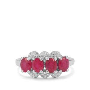 Kenyan Ruby Ring with White Zircon in Sterling Silver 2.45cts