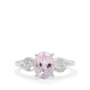 Brazilian Kunzite Ring with White Zircon in Sterling Silver 2.72cts