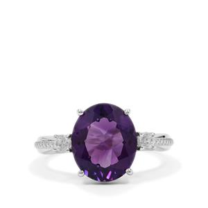 Zambian Amethyst Ring with White Zircon in Sterling Silver 4.40cts
