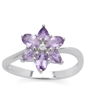 Natural Purple Sapphire & White Zircon 9K White Gold Ring ATGW 1.35cts