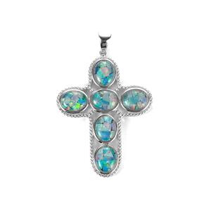 Mosaic Opal Sterling Silver Pendant (10 x 8mm)
