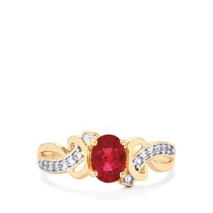 Cruzeiro Rubellite Ring with White Zircon in 10k Gold 0.86cts