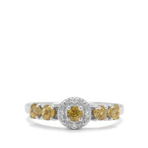 Ambilobe Sphene & White Zircon Sterling Silver Ring ATGW 0.83ct